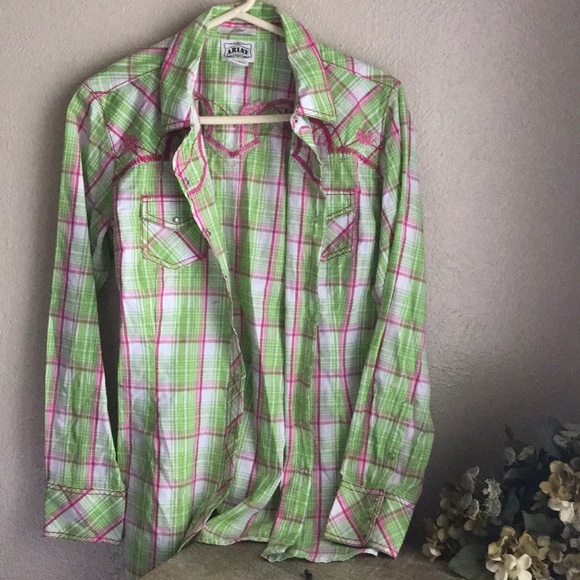 4fdf8ba4 Ariat Tops | Womens Pearl Snap Button Plaid Shirt Fitted | Poshmark